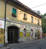 Graffiti on a house wall, Ljubljana. City details, Ljubljana. Slovenia. old town Stock Photos
