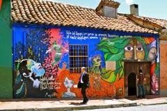 Graffiti im La Candelaria, Bogotá, Kolumbien Lizenzfreie Stockfotografie