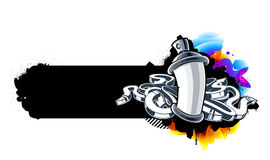 Graffiti image. Of can with arrows. Horizontal banner. Vector illustration Stock Photography