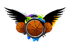Graffiti image with basketballs Stock Images