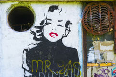 Graffiti with the image of Marilyn Monroe. KALININGRAD, RUSSIA - SEPTEMBER 10, 2015: graffiti with the image of Marilyn Monroe on the old wall in Kaliningrad Royalty Free Stock Image