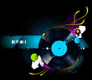 Graffiti image with vinyl disc Royalty Free Stock Photography
