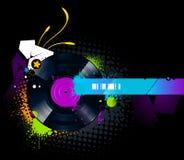 Graffiti image with vinyl disc Royalty Free Stock Photos
