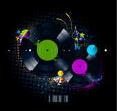 Graffiti image with vinyl disc Royalty Free Stock Image