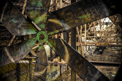Graffiti Industrial Fan in Abandoned Factory Royalty Free Stock Image