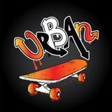 Graffiti inscription `Urban` and skateboard. Vector illustration. Multicolored skateboard.  Royalty Free Stock Photo