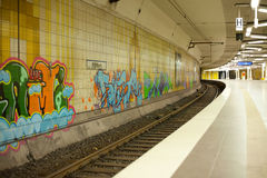 Graffiti inside a subway station Stock Images