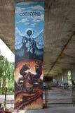 Graffiti intéressant créé par des fans de club du football de Legia Varsovie Photos libres de droits
