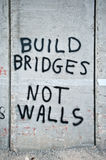 Graffiti on Israeli Separation Barrier. Graffiti on the Israeli separation barrier says,  Build bridges, not walls, and Break the chains Stock Photos