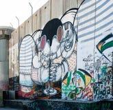 Graffiti israeliani della barriera della Cisgiordania Fotografie Stock