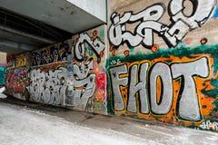 Graffiti izolują pod mostem Zdjęcie Royalty Free