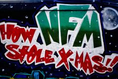 Graffiti Izolują, W centrum Houston, TX xmas Obraz Royalty Free