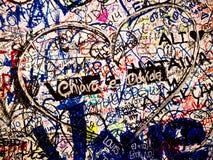 Graffiti on Juliet's House, Verona, Italy. Heart and love sentences painted on Juliet's House, Verona, Italy Royalty Free Stock Image