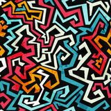 Graffiti kurven nahtloses Muster mit Schmutzeffekt Stockfotografie