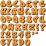 Graffiti liczby i listy Zdjęcia Stock