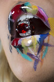 Graffiti Lip Makeup with ring Royalty Free Stock Image