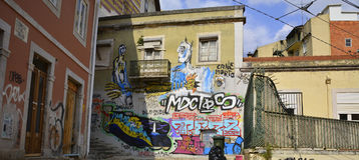 Graffiti in Lissabon Lizenzfreies Stockbild