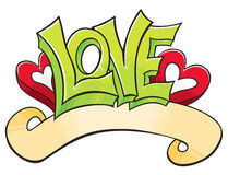 Graffiti with Love. Love word with hearts drawed in graffiti style Stock Photo