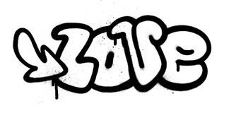 Graffiti love word in black over white Royalty Free Stock Photo