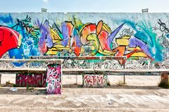 Graffiti on Mauerpark wall in Berlin Stock Photography