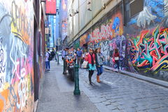 Graffiti Melbourne lane city life Royalty Free Stock Photography