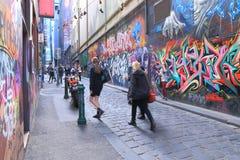 Graffiti Melbourne lane city life Stock Photo