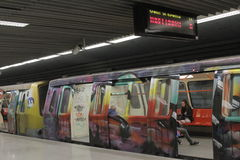 Graffiti Metro Train Stock Photos