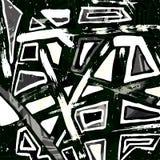 Graffiti monochrome geometrical objects vector illustration Royalty Free Stock Photography