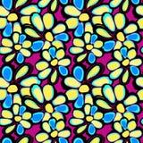 Graffiti mooie abstracte bloemen op een zwart naadloos patroon als achtergrond Royalty-vrije Stock Afbeeldingen