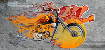 Graffiti Of A Motorcycle Royalty Free Stock Image