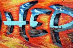 Graffiti, mur coloré sur un vieux bâtiment, une partie de la ville, où les artistes ont décoré les vieux bâtiments et murs d'usin Photos stock