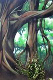 Graffiti Mural of Trees with Real Climbing Plant. This blend of art and nature make for an interesting photo with a vine tropical painted forest of rooting trees Stock Photography