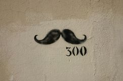 Graffiti of mustaches. As three hundredth anniversary of knightly tournament in Sinj, Croatia Stock Image