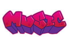 graffiti Muziekwoord Stock Fotografie