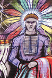 Graffiti na ściana z cegieł z indianinem Fotografia Stock