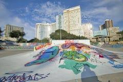 Graffiti na plażowym przejściu z linią horyzontu Durban linia horyzontu, Południowa Afryka na oceanie indyjskim Obraz Royalty Free