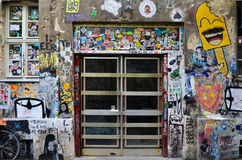 Graffiti na podwórko ścianie przy Hackische Hoefe Wrzesień 22 2016 Zdjęcia Stock