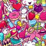 Graffiti naadloos patroon met meisjesachtige krabbels royalty-vrije illustratie