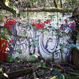 Graffiti in nature. Wall of a ruined building decorated in graffiti royalty free stock photo