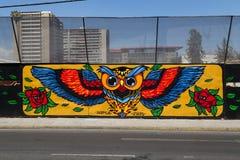 Graffiti nelle vie di Bellavista, Santiago de Chile Fotografia Stock Libera da Diritti