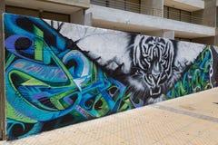 Graffiti nelle vie di Bellavista, Santiago de Chile Immagine Stock