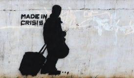 Graffiti neri sulla parete grigia concreta artista sconosciuto Fotografie Stock Libere da Diritti