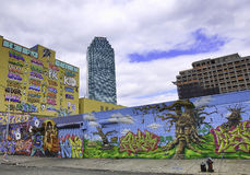 Graffiti in New York City and Citibank. Graffiti in New York City has had a country-wide and perhaps even international influence. Originating in the New York Royalty Free Stock Photo
