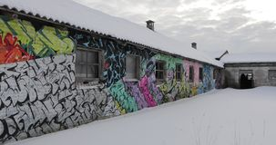 Graffiti in an old abandoned building.  stock video footage