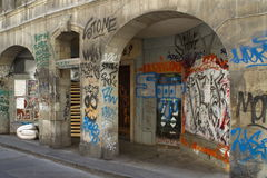 Graffiti on old building, Geneva, Switzerland Stock Photography