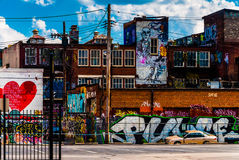 Graffiti and old buildings in Baltimore, Maryland. stock photography