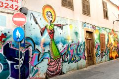 Graffiti in the old streets of Nicosia, Cyprus. Royalty Free Stock Images