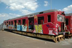 Graffiti on old train Stock Photography