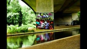 Graffiti onder brug Royalty-vrije Stock Foto's