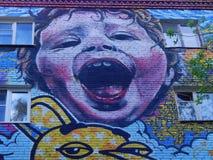 Graffiti op één van de woonhuizen in Moskou Stock Foto's